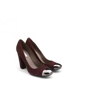 女士紫红色高跟单鞋