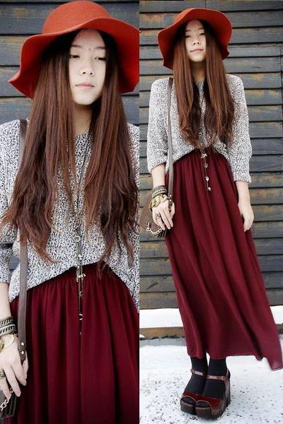 酒红色长裙