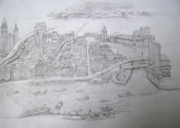我最新画的上海外滩全景素描(步骤1)&nb