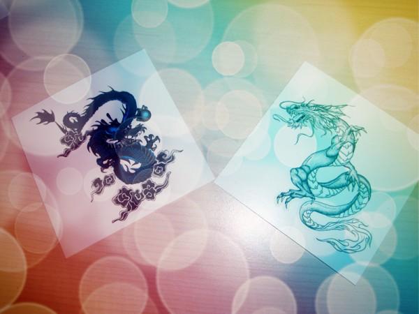零距离接触丝芙兰纹身贴; 我还有让大家欣赏一下双龙戏珠; 龙戏珠纹身图片