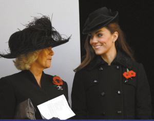 """年11月,凯特王妃与卡米拉王妃出席""""阵亡将士纪念日""""仪式./中新"""