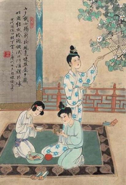 """古时""""七夕""""风俗图,蛛网乞巧.-七夕的由来与传说 图"""